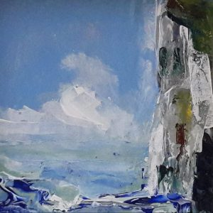 acrylic painting of blue sea waves and white cliffs